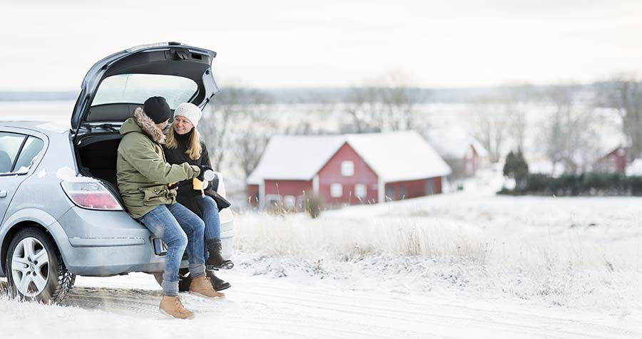 auto, talvi, pariskunta,takakontti